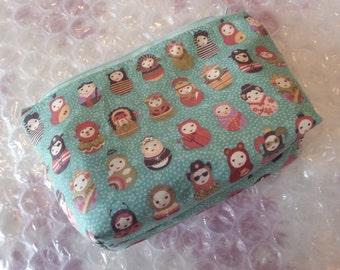 Cute matryoshka pattern makeup bag / large pencil case / nic-nac bag