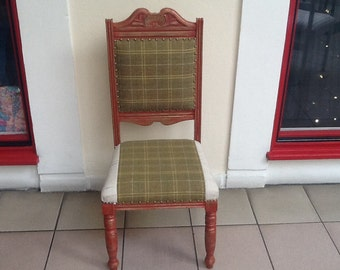 Red and gold painted, green tartan shabby chic bespoke upholstered chair- one only!