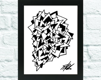 black and white abstract layered art