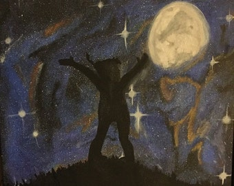 Acrylic painting of Peter Pan in the Neverland Night Silhouette