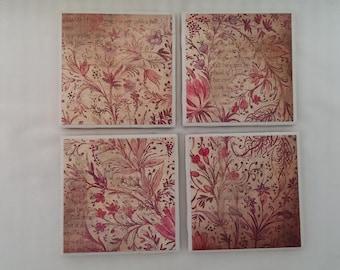 Decoupage Tile Coasters - Set of 4