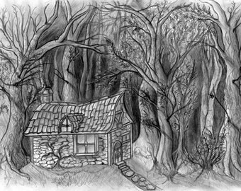 Fantastic Exclusive Print Of A Beautiful Cottage In The Woods Dark Fantasy Fairytale Style
