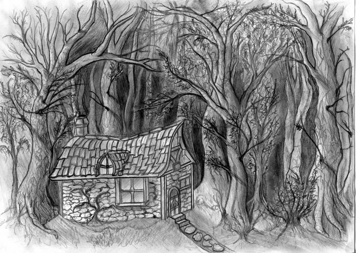 how to draw a house in a froest