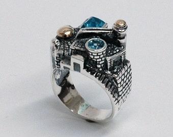 Jerusalem Ring, Silver jewelery 925, Blue Topuz Stons, By Yigal Avinoam