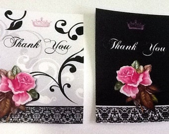 8 Roses on Black and White Background Gift/Thank You Tags