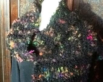 Scarf black wool boucle,hand crochet original