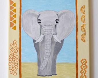 Elephant, Original Acrylic on Canvas painting