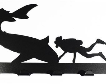 Scuba Diver with Shark Silhouette Key Hook Rack - metal wall art