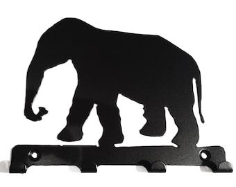 Elephant Silhouette Key Hook Rack - metal wall art