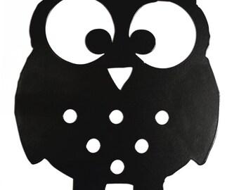 Owl Silhouette Key Hook Rack - metal wall art