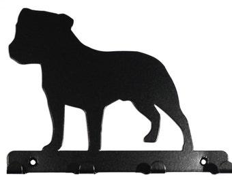 Staffordshire Bull Terrier (Staffie) Silhouette Key Hook Rack - metal wall art