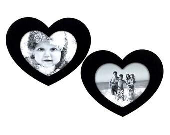 Magnet Photo Frame - HEART 2xS BLACK
