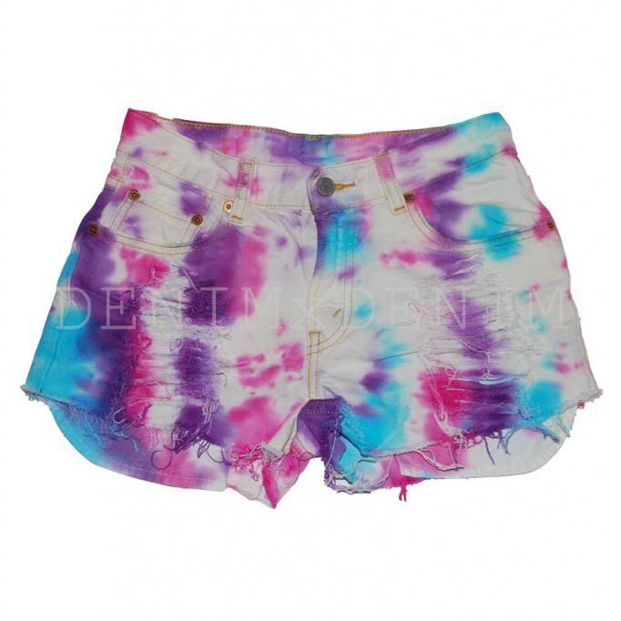 tie dye pink white blue cut high waisted low rise