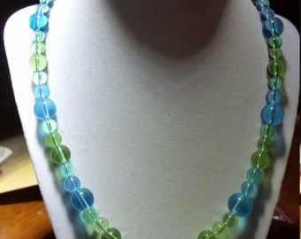 Blue and Green glass bead necklace