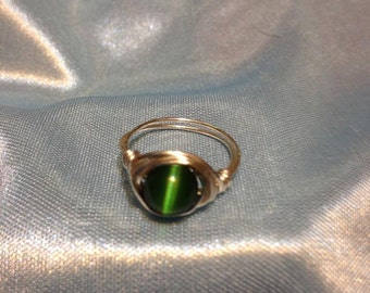 Meow! Wired Wrapped Cat-Eye (Cymophane) Ring ** Spring **