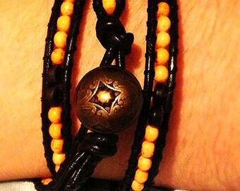 "29"" Amber Dragon Eye Men's Adjustable Leather Triple Wrap Bracelet ** Wooden Beads **"