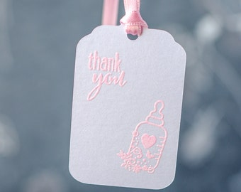 10 Baby Shower Tags, Baby Favor Tags, Thank You Favor Tags, Pink, Girl