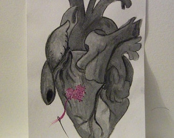 Stitched Hearts art print