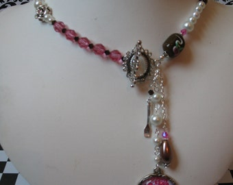 Let Them Eat Cake~ Marie Antoinette victorian goth pearl crystal charm necklace