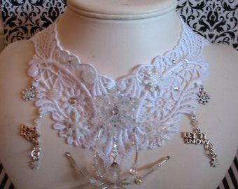 Snowflake dancer~ frozen snow ice spider web gothic venise lace choker necklace