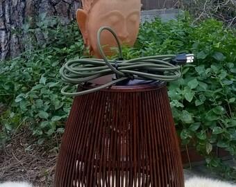 Repurposed Dark Rattan Pendant lamp