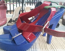 NEW Paul Smith Size 40 Platform High Heel Shoe Blue Green and Red