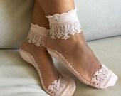 Women's Socks, Transparent Socks, Nylon Ankle, Socks, Hosiery