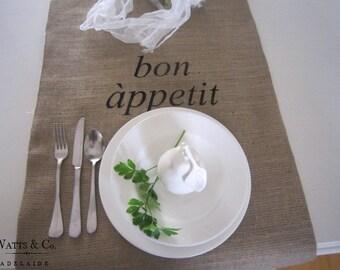 """Burlap/Hessian Table Runner """"bon appetit""""  30 cm wide x 180 cm long."""