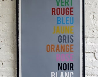 French Colours, typographic screen print