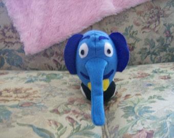 Ready To Ship Blue Elephant Racecar Car Stuffed Plush Animal Doll Toy