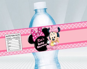 Baby Minnie Mouse Water Bottle Label DIY PRINTABLE, You Print