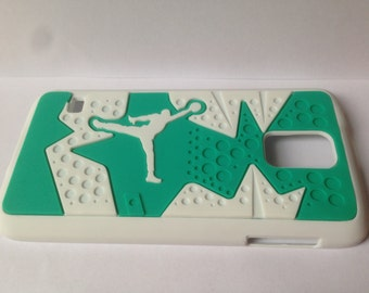 Jordan cell phone cover Samsung S5 white turquoise phone case NBA