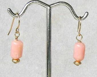 PERFECT PINK Peruvian OPAL 14K Gf Earrings! 005993