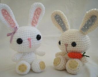 Crochet, Amigurumi Bunnies in cream and white