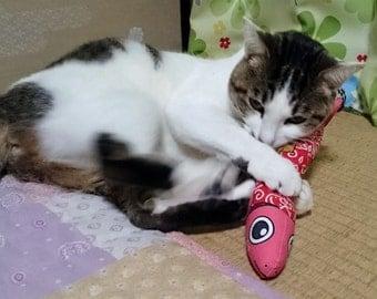 Cat Toys, Kitty toys, Toys for cats, Silvervine, Matatabi, Japanese catnip, *Fish-type Neko-Karakusa red*