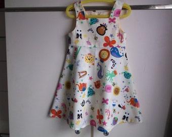 Zoo animals on lemon dress