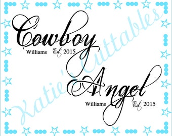 Cowboy and Angel, His and Hers .SVG File