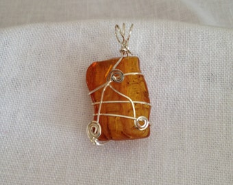 Baltic Amber Wire Wrapped with Sterling Silver