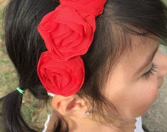 Handmade red flower headband