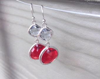 Scarlet and Grey earrings SALE, drop earrings