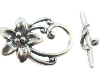 Handmade Oxidized Sterling Silver Flower Ornament Toggle - 1 set