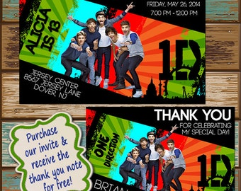 One Direction Concert Music Birthday Invitation