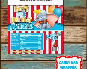 Personalized Digital Invitations Candy Bar Wrapper Hershey Dumbo Disney Elephant