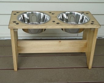 """Elevated 12-3/4"""", handmade, wood DOG FEEDER with 2, two quart stainless steel bowls"""