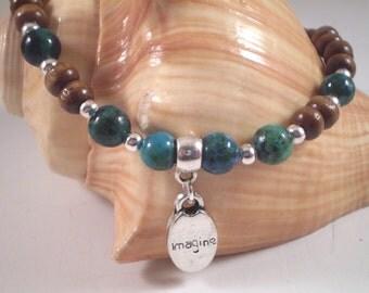 "Wooden Beaded Azurite ""Imagine"" Stretch Bracelet"