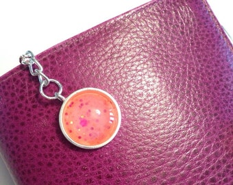 Handmade pink with glitter nail polish charm key ring/planner charm.