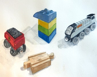 Framed Original Watercolors of Toys