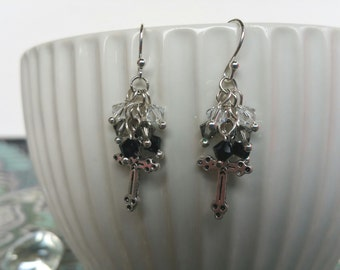 Silver Cross and Crystal Earrings