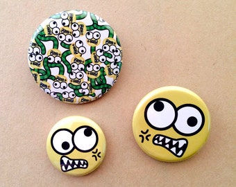 Angry, Green, Caterpillar, Pin Pack, button, pinback,
