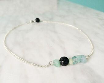 Aquamarine and Lava Rock Essential Oil Diffuser Necklace or Bracelet